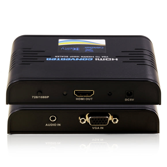 Cablesson HDelity VGA and Audio to HDMI Converter  - Supports 1080p Full HD - Connect PC Computer SVGA video + R/L Audio to HDMI monitor or HDTV or Projector - Lifetime Warranty