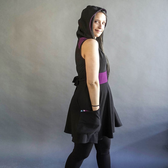 The back view of the spirit collection. Fun circle dress with back bow and hood.