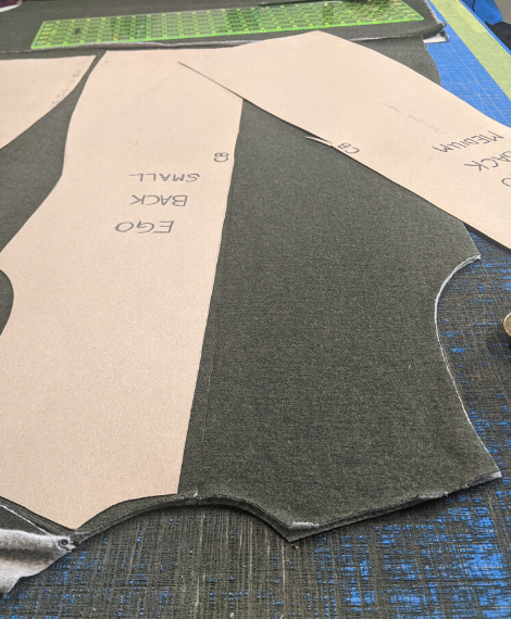 Cutting out fabric for sewing