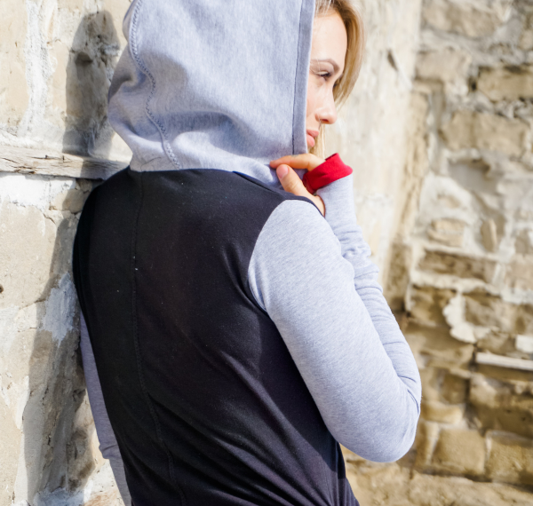 Sleeved hoodie dress with thumbholes
