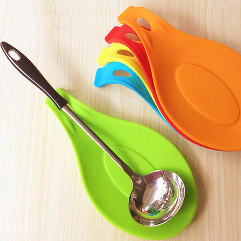 Image of Spoon Silicone Kitchen Utensil Rest Ladle Spoon Holder,Flexible Almond-Shaped