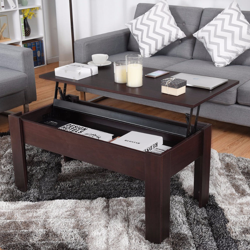 Coffee Table w/ Iron Lift-up Hidden Storage Compartment