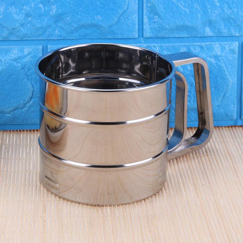 Image of Baking Stainless Steel Shaker  Sieve Cup with Measuring Scale Mark