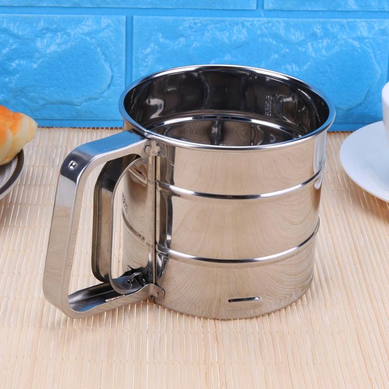 Baking Stainless Steel Shaker  Sieve Cup with Measuring Scale Mark