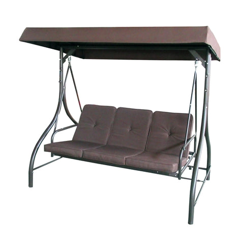 Image of Canopy Patio Swing Bench Brown