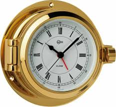 Image of BARIGO POSEIDON SERIES PORTHOLE QUARTZ SHIPS CLOCK - BRASS HOUSING - 3.3 DIAL