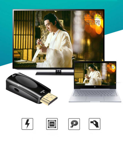 Image of HDMI to VGA Adapter Converter Gold-Plated for PC, Laptop, DVD, Desktop .