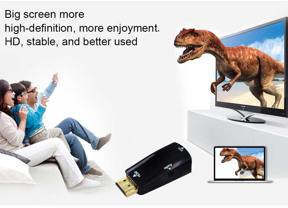 HDMI to VGA Adapter Converter Gold-Plated for PC, Laptop, DVD, Desktop .