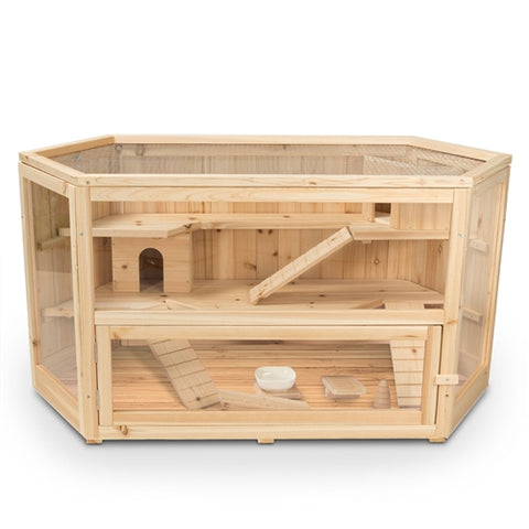 Deluxe Fir Wood 3-Tier Guinea Pig,Hamster Mansion, Large