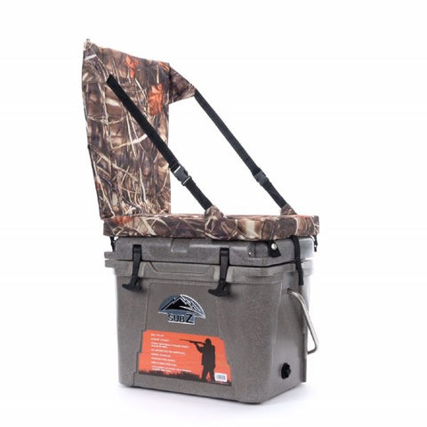 Nash 23 quart Sub Z Tan Cooler with Camo High Back Seat