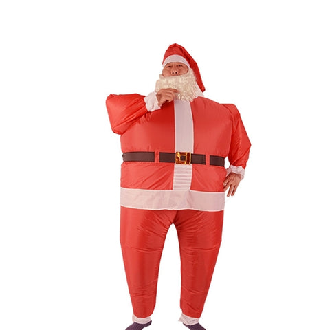 Image of Inflatable Santa Claus Costume With Beard and Hat