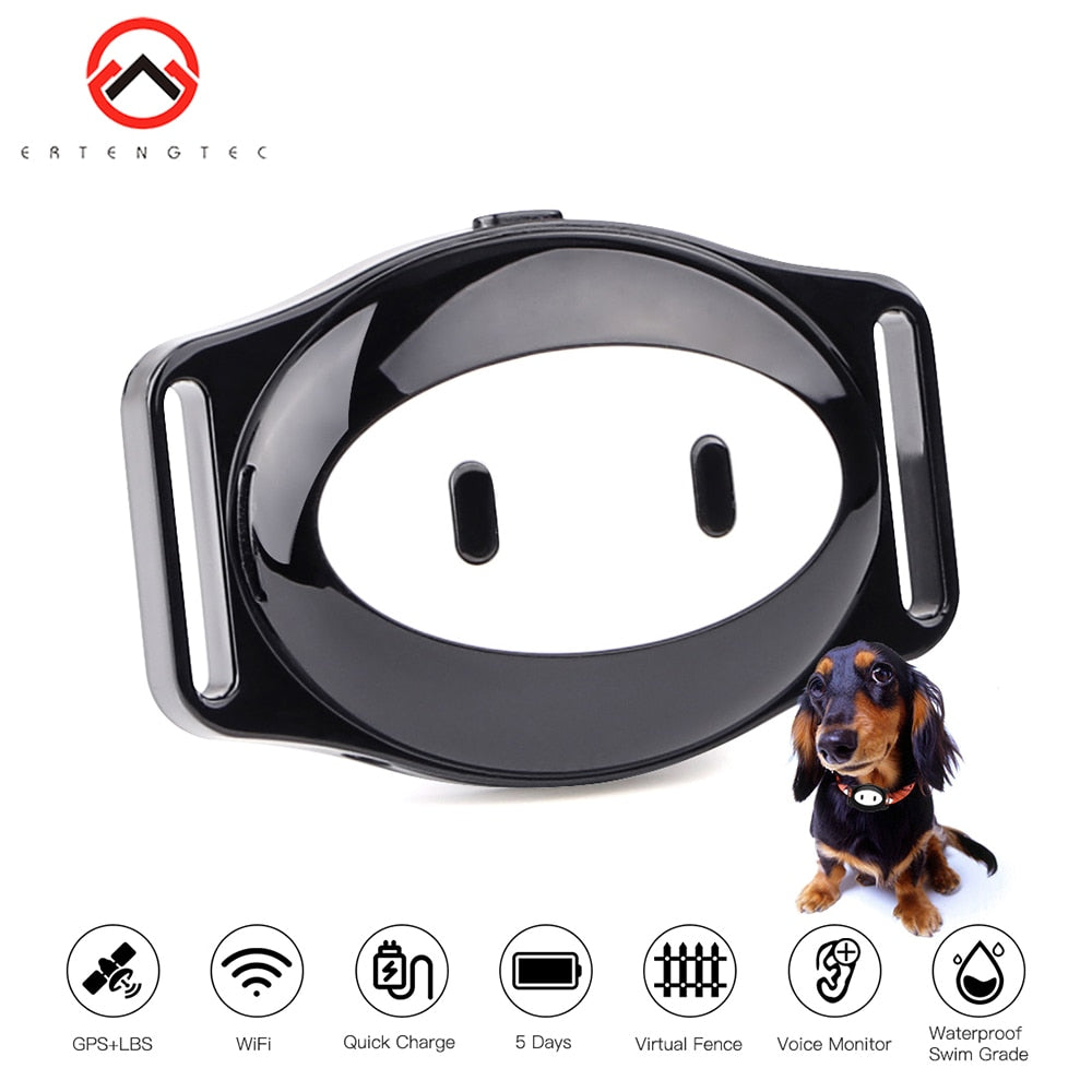 Pet GPS Tracker Dog Collar Waterproof IP68 5Days Standby Geo-fence Mini GPS Tracker Cat GPS Collar Voice Call WiFi+LBS FREE APP