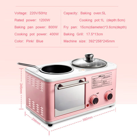 Image of Electric 3 in 1 Household Breakfast machine mini bread toaster