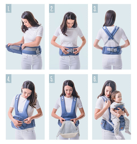 Ergonomic 4 in 1 Baby Carrier Infant Hip seat Carrier Kangaroo Sling  Front Facing Backpacks for Baby Travel Activity Gear