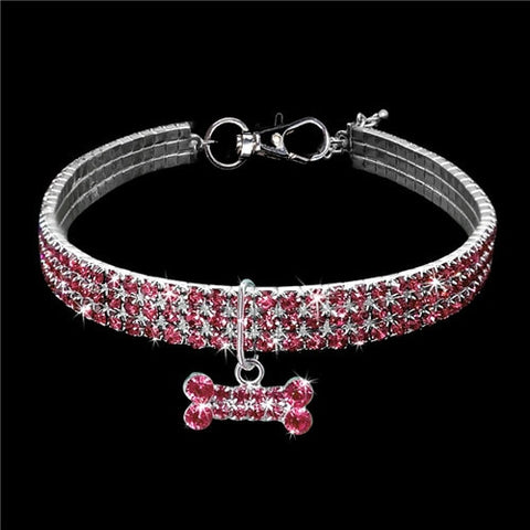 Image of Bling Crystal Dog Collar Diamond Puppy Pet Shiny Full Rhinestone Necklace Collar Collars For Pet Little Dogs Supplies