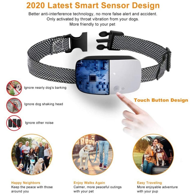 2021 New Dog Bark Collar Intelligent Dog Anti Bark Collar Adjustable Sensitivity And Intensity Dog Stop Barking Control Device