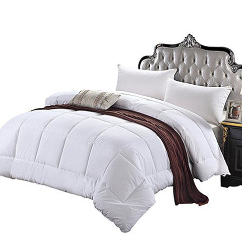 Image of Solid White Home Double Fill Down Alternative Comforter Microfiber Cover Medium Weight for All Season