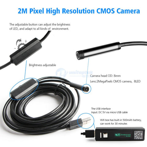 Image of Hard Wire 2MP WIFI Endoscope Camera HD 1200P 1-5M IP68 Waterproof Snake Tube Inspection Wireless Borescope Camera Android IOS