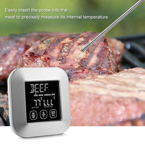 Instant Read Cooking Thermometer w/ Large LCD, 3 Stainless Steel Temperature