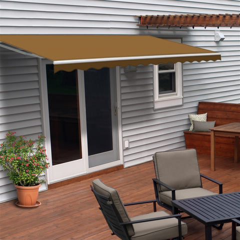 Image of Retractable White Frame Patio Awning 12 x 10 Feet  sand