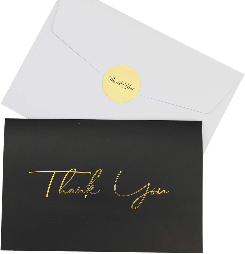 Elegant 100 Thank You Cards with 4x6 Envelopes and Stickers. For Baby Shower, Business and Wedding, 6 assorted designs (Gold stamp text - white & Black).