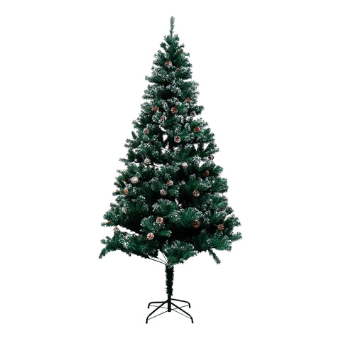 Image of Snow Dusted Artificial Christmas Tree with Pine Cones - 8 Foot