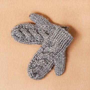 Slate Cable Knit Wool Mittens