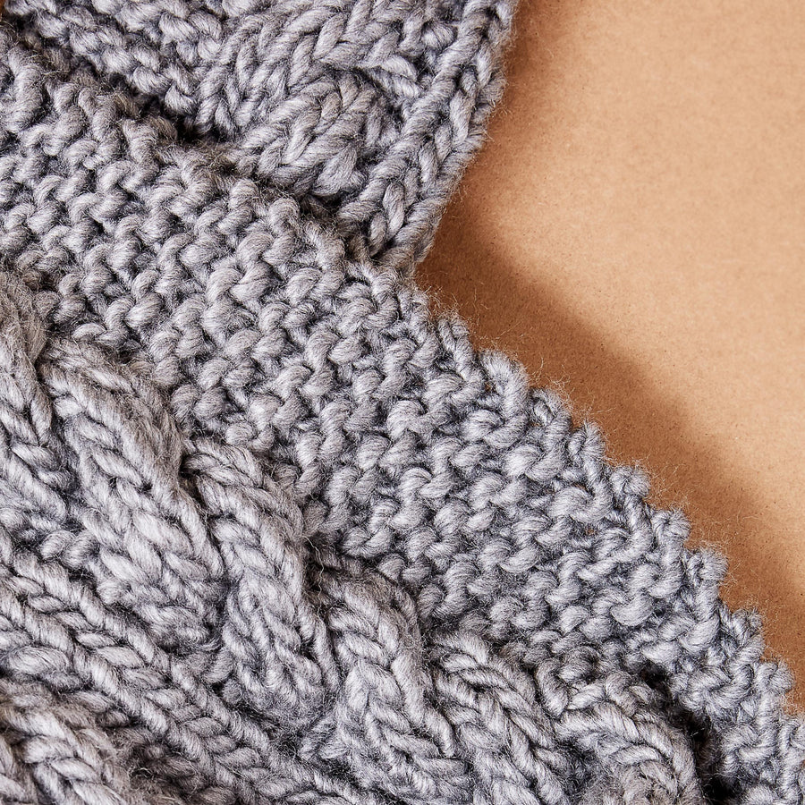 Slate Oversized Chunky Cable Knit Scarf