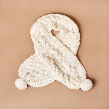 Ivory Oversized Chunky Cable Knit Scarf