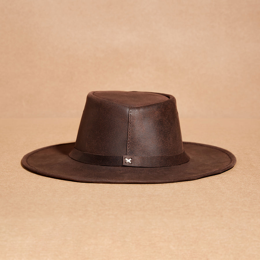 Chocolate leather waxed hat