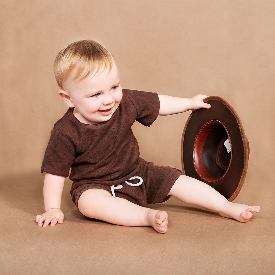 Kid's Chocolate leather waxed hat