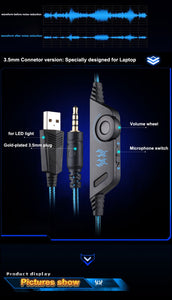 KOTION EACH Gaming Headset with Microphone LED Light for PS4 Phone PC Gamer