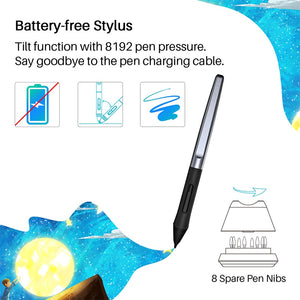 HUION HS610 Graphic Tablets Digital Pen Tablet Phone Drawing Tablet with Tilt OTG Battery-Free Stylus for Android Windows macOS