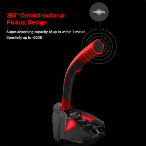 Wired Computer Microphone With Phone Stand Tabletop USB Stereo Gaming Microphone for Desktop Laptop PC Gamer Mic Led Clear HD
