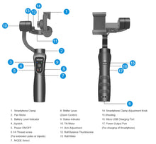 Load image into Gallery viewer, KEELEAD 3-Axis Handheld Gimbal Stabilizer w/Focus Pull & Zoom for iPhone Xs Max Xr X 8 Plus 7 6 SE Samsung Action Camera