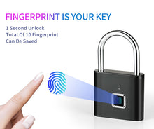Load image into Gallery viewer, Smart Fingerprint Lock USB Rechargeable Fingerprint Padlock Quick Unlock Zinc Alloy Metal Self Developing Chip for Door Luggage