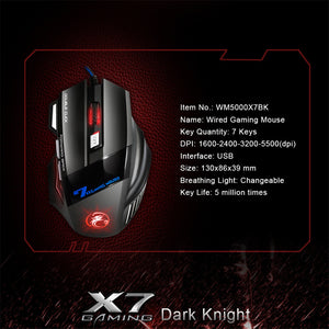 Wired iMice Ergonomic Gaming 5500 DPI Silent Mouse - 7 Button