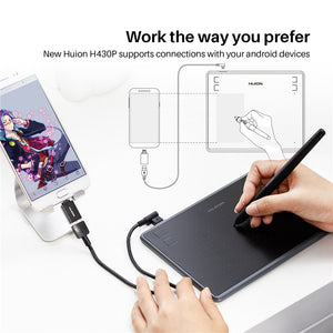 HUION H430P Digital Tablets Micro USB Signature Graphics Drawing Pen Tablet OSU Game Battery-Free Tablet With Gift