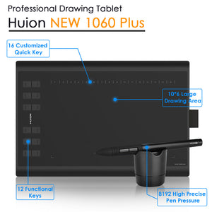 Huion New 1060 Plus Professional Digital Drawing Tablet 8192 Levels Pen Pressure 12 HotKey Graphic Tablets with Two Digital Pens