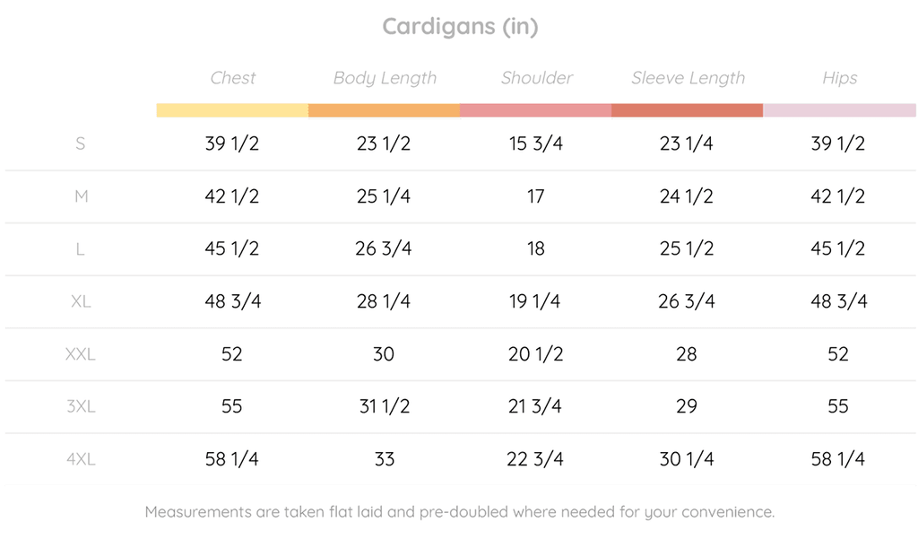 Cardigan Button-Up Size Guide (Inches)