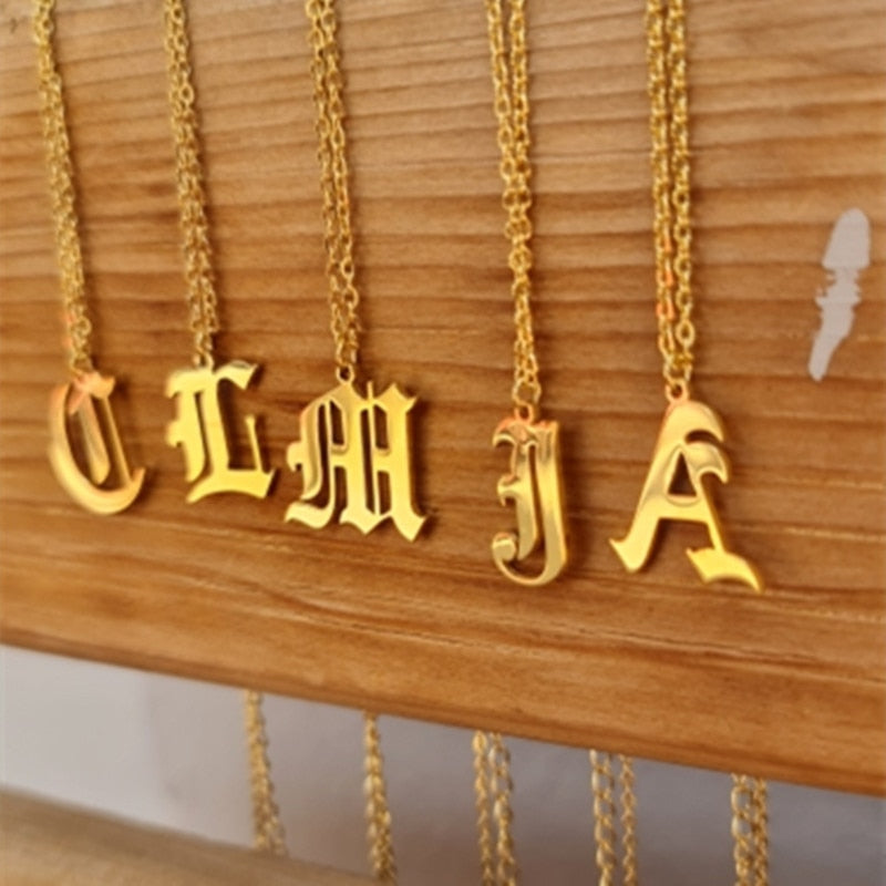 Gold Plated Old English Initial Necklace