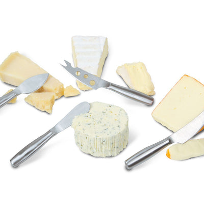 Four 'Cheese Knives' for hard and soft cheeses. Makes any cheese board elegant!