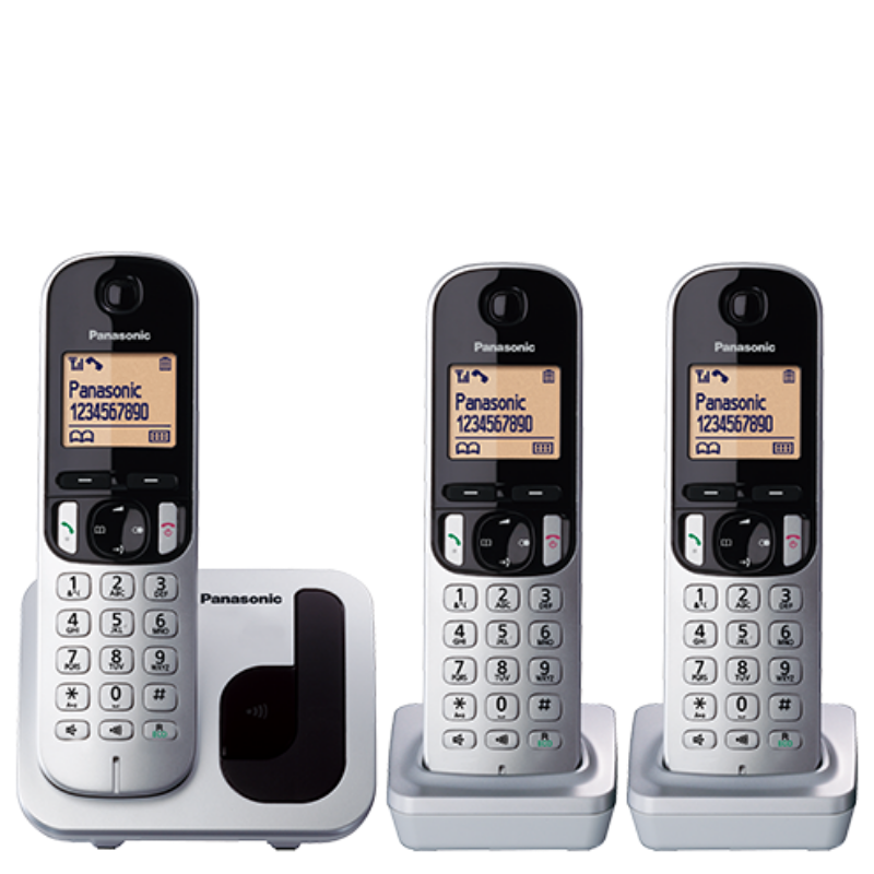 Panasonic Silver Cordless Phone KX-TGC213, with 3 handsets.