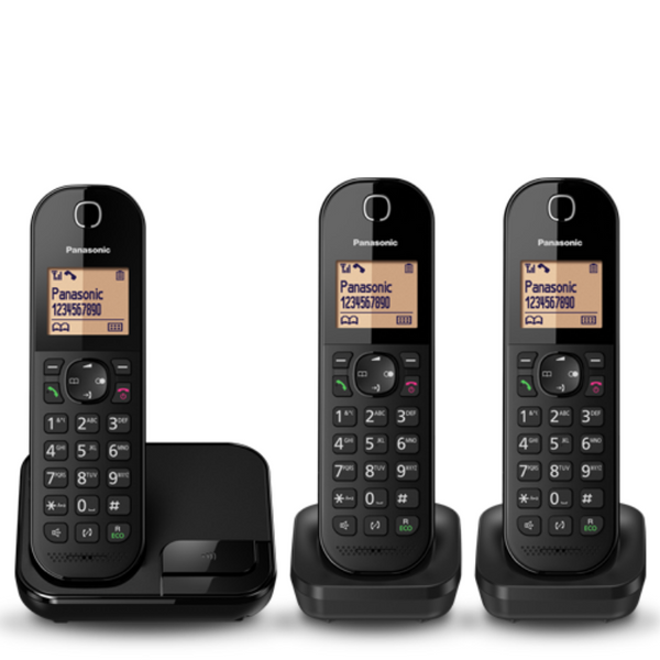 Panasonic Black Cordless Phone KX-TGC413, with 3 handsets.