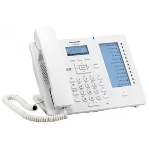 White IP panasonic phone, KX-HDV230, with function keys.