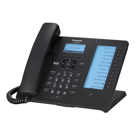 Black IP panasonic phone, KX-HDV230, with function keys.