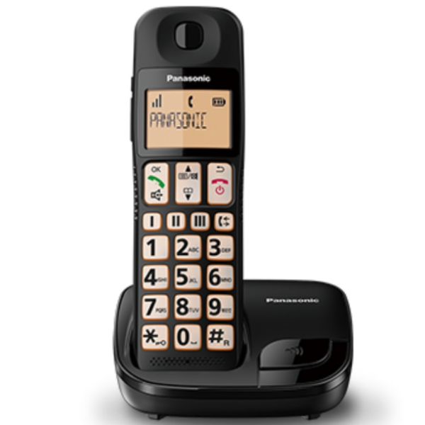 Panasonic Black Cordless Phone KX-TGE110, with big buttons.