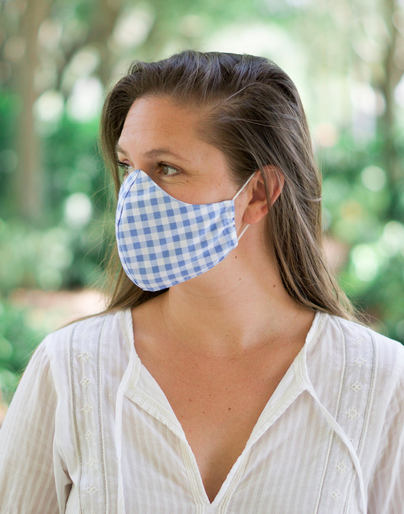 Blue Sky Gingham Mask