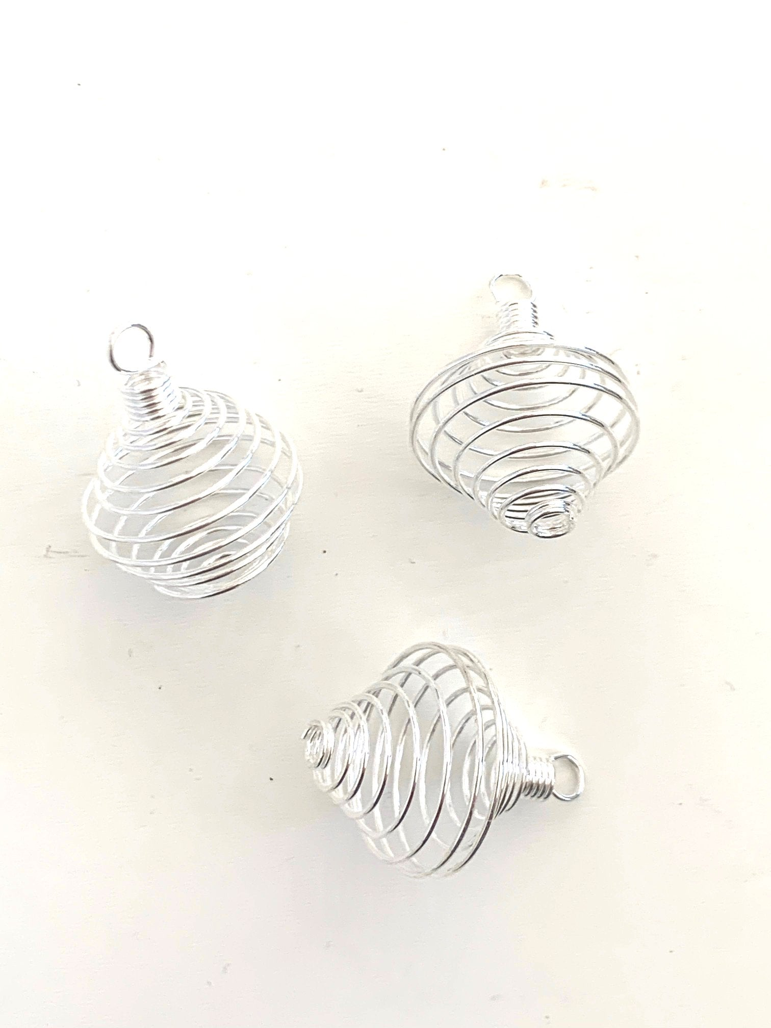 Spiral Cage Pendants - Silver