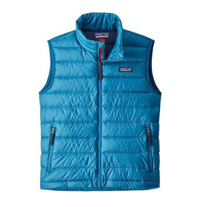 Balkan Blue & Forge Grey / MED Patagonia Boys' Down Sweater Vest PATAGONIA INC
